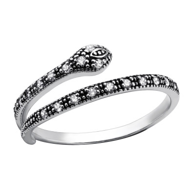 Silver Snake Ring with Cubic Zirconia