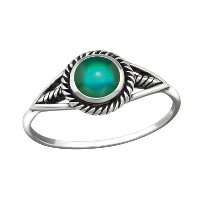 Silver Oxidized Mood Ring