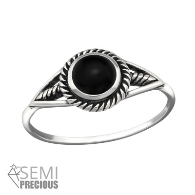Silver Round Ring with Black Onyx