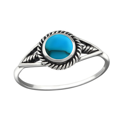 Silver Round Ring with Imitation Blue Turquoise