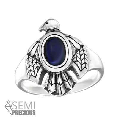 Silver Eagle Ring with Sodalite