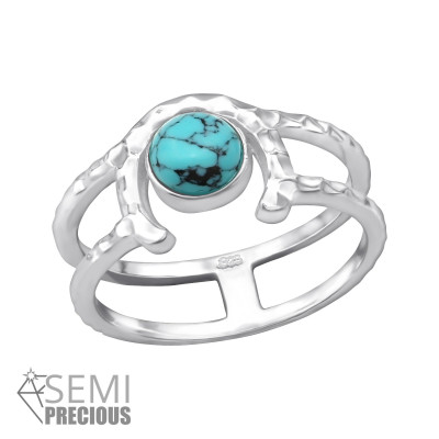 Silver Double Line Ring with Blue Turquoise
