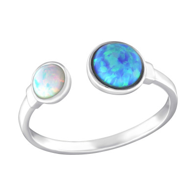 Silver Double Round Ring with Azure and Fire Snow