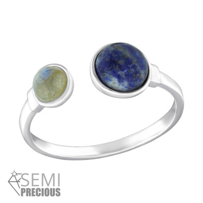 Silver Double Round Ring with Labradorite and Sodalite