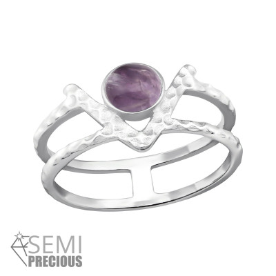 Silver Double Line Ring with Amethyst
