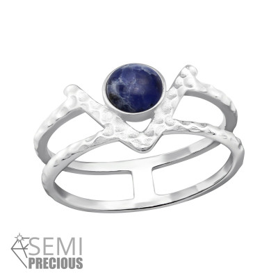 Silver Double Line Ring with Sodalite
