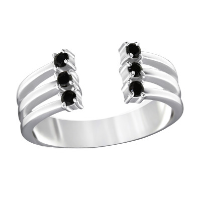 Silver Open Ring with Black Spinel