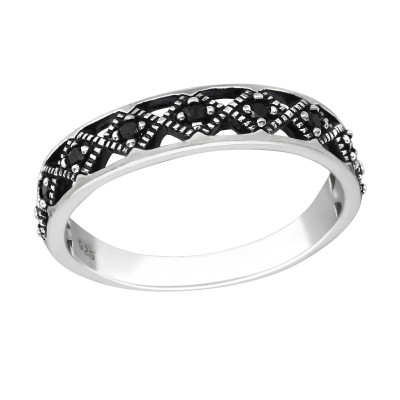 Silver Patterned Ring with Black Spinel