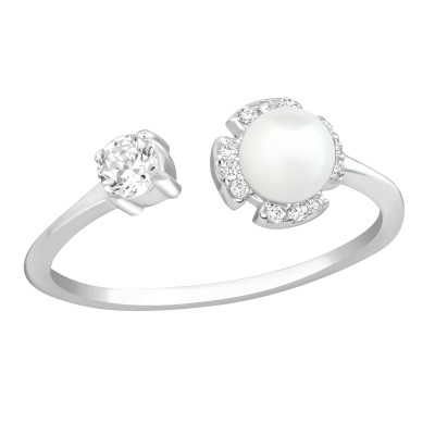 Silver Open Ring with Cubic Zirconia and Synthetic Pearl
