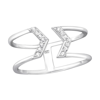 Silver Arrow Ring with Cubic Zirconia