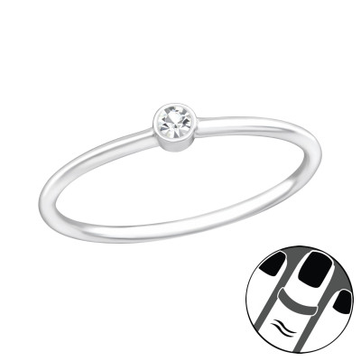 Silver Round Midi Ring with Crystal