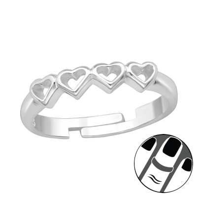Silver Heart Link Midi Ring