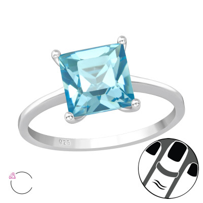 Silver Square Midi Ring with Genuine European Crystal