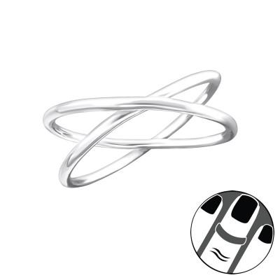 Silver Crossed Midi Ring