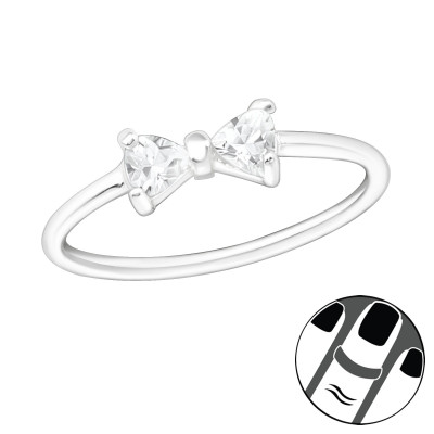 Silver Bow Midi Ring with Cubic Zirconia