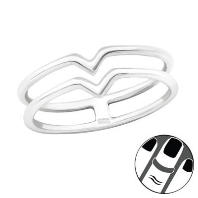 Silver V Shaped Midi Ring