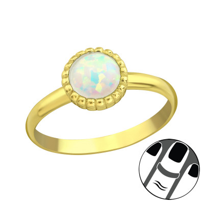Silver Round Midi Ring with Fire Snow
