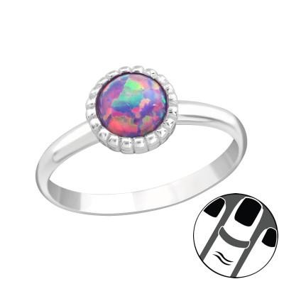 Silver Round Midi Ring with Multi Lavender