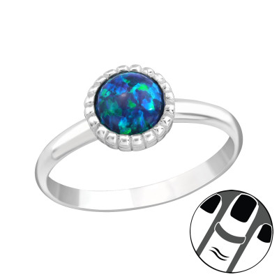 Silver Round Midi Ring with Peacook