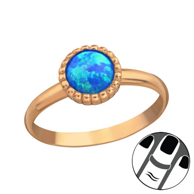 Silver Round Midi Ring with Pacific Blue