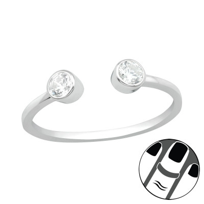 Silver Open Midi Ring with Cubic Zirconia