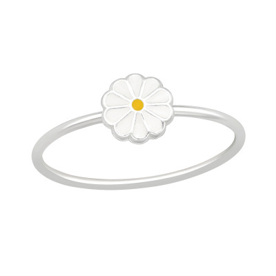 Silver Flower Ring with Epoxy
