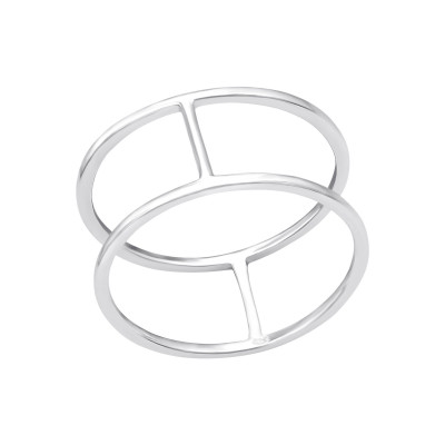 Silver Double Line Ring