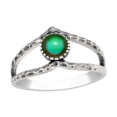 Silver V Shaped Ring with Mood Color Epoxy