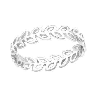 Silver Olive Branch Ring