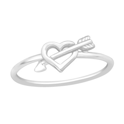 Silver Heart and Arrow Ring