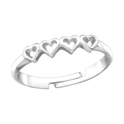 Silver Heart Link Ring