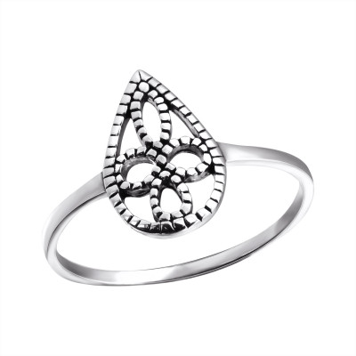 Silver Pear Ring