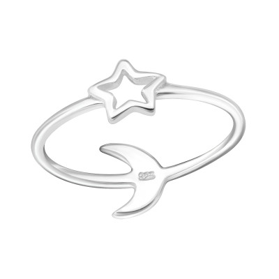 Silver Star and Moon Ring