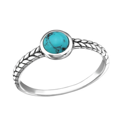 Silver Oxidized Ring with Inmitation Stone