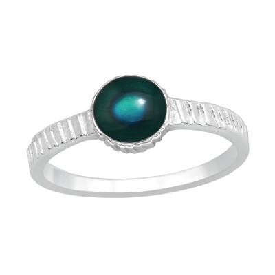 Silver Oval Ring with Mood Color Epoxy