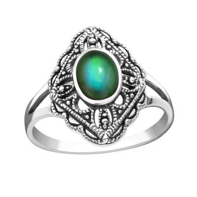 Silver Antique Ring with a Mood-Colored Epoxy