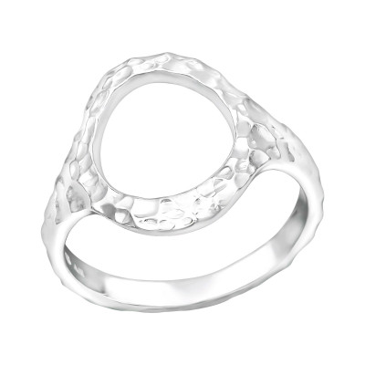 Silver Patterned Circle Ring