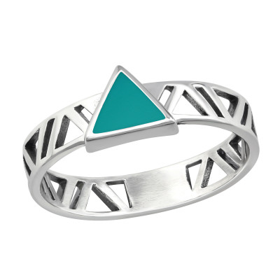 Silver Triangle Ring with Epoxy