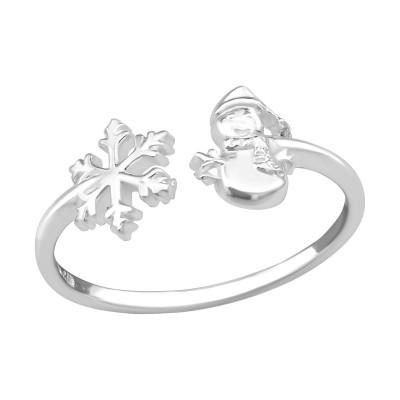 Silver Snowflake and Snowmen Ring