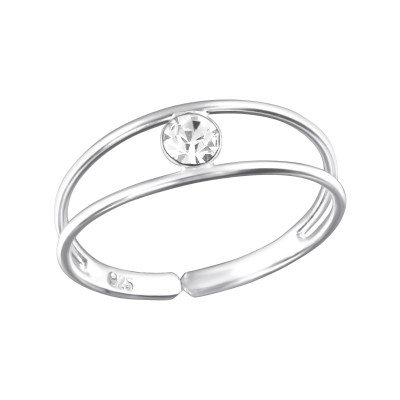 Silver Single Stone Adjustable Toe Ring with Crystal