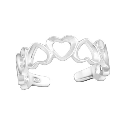 Silver Heart Adjustable Toe Ring