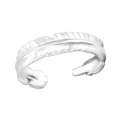 Silver Feather Adjustable Toe Ring