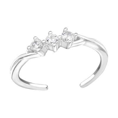 Silver Sparkling Adjustable Toe Ring with Cubic Zirconia