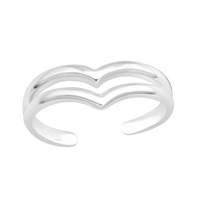 Silver V Shape Adjustable Toe Ring