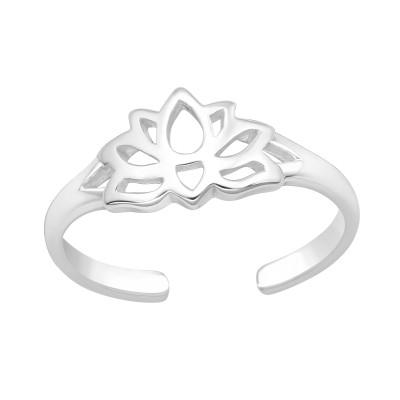 Silver Lotus Adjustable Toe Ring