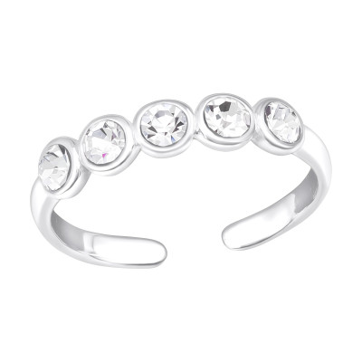 Silver Dot Link Adjustable Toe Ring with Crystal