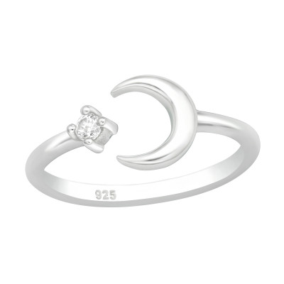 Silver Moon Adjustable Toe Ring with Cubic Zirconia