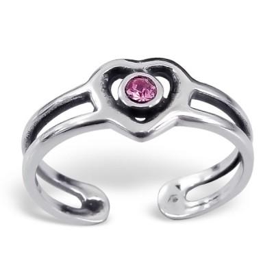 Silver Heart Adjustable Toe Ring