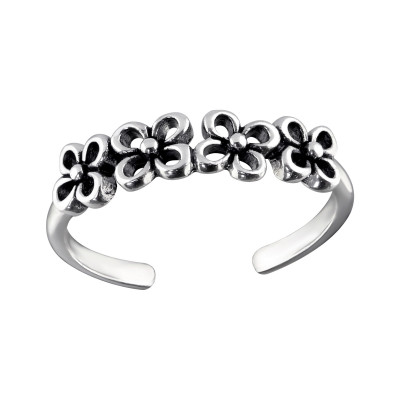 Silver Flowers Adjustable Toe Ring