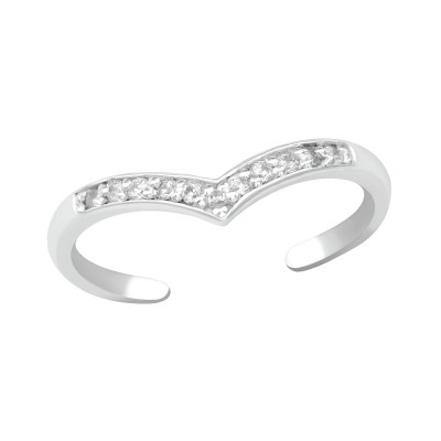 Silver Heart Adjustable Toe Ring with Cubic Zirconia